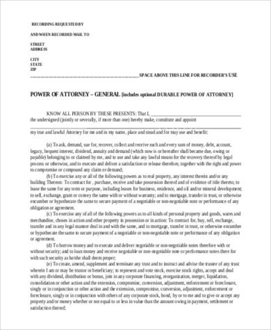 free general power of attorney form