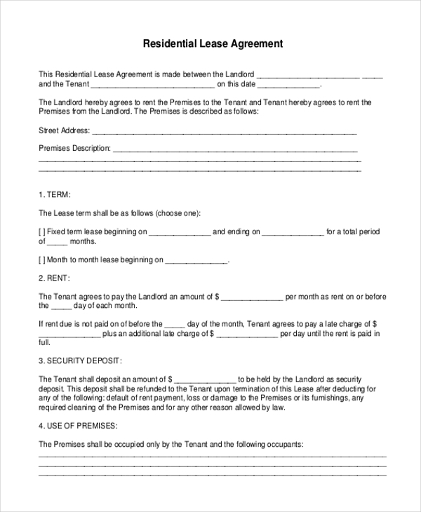 Free Printable Residential Lease Agreement Form  Free Printable Residential Lease Agreement
