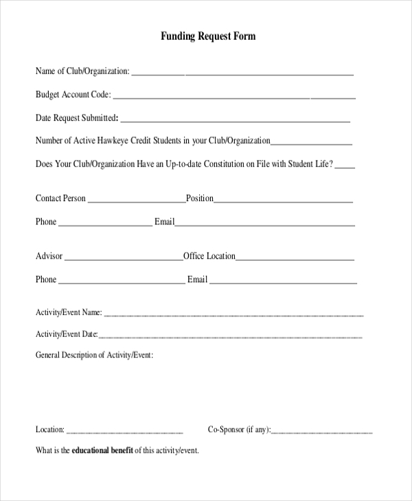 funding request form