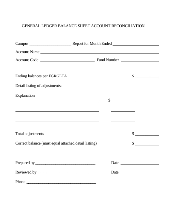 Ledger Form GeneralLedgerTemplate  General Ledger Template