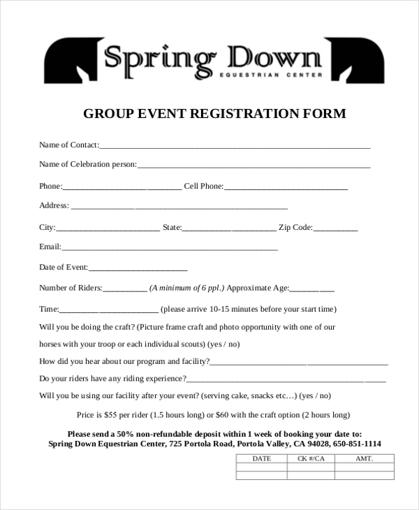 Group Event Registration Form In PDF