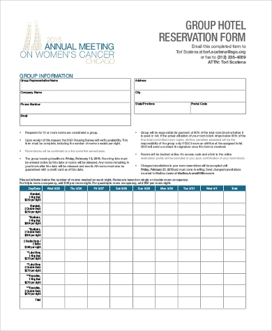 Sample hotel reservation form 10 free documents in word pdf altavistaventures Gallery