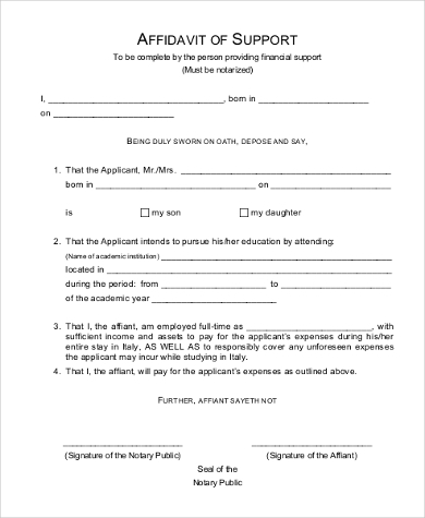 Sample Affidavit Of Support - 11+ Free Documents In Pdf