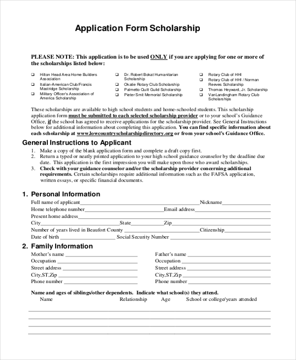 Sample Scholarship Application Forms  Free Sample Example Format