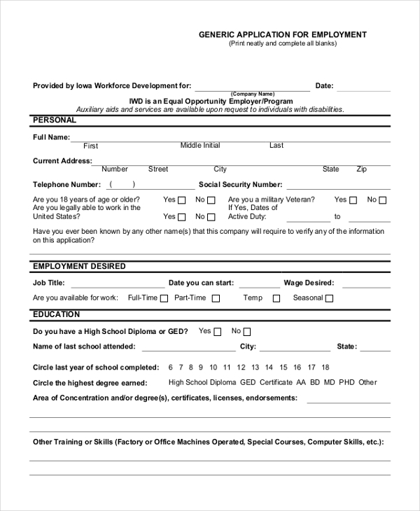 Sample Generic Employment Application Form   Free Documents In Pdf