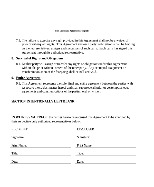 Sample NonDisclosure Agreement Forms in PDF 8 Free Documents – Sample Non Disclosure Agreement