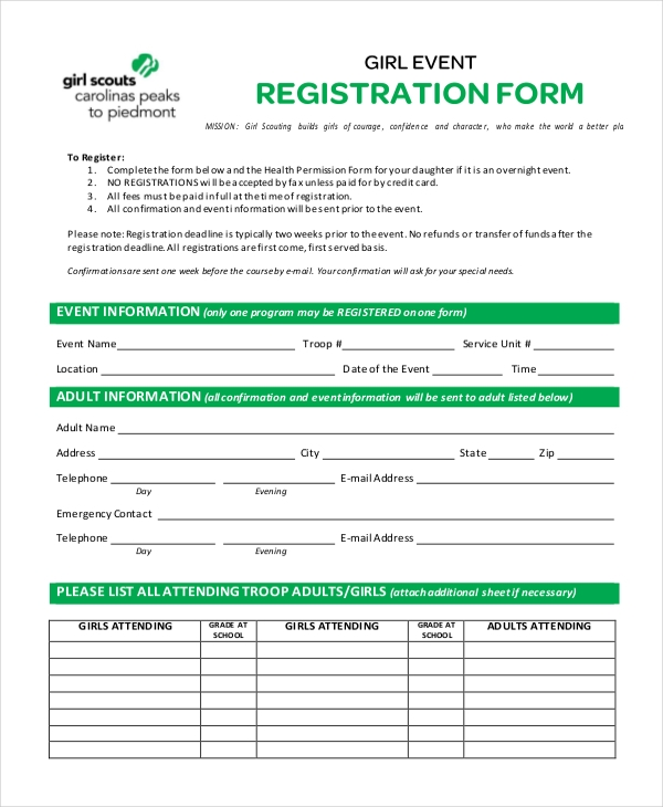 Example Of Girl Event Registration Form  Customer Registration Form Sample