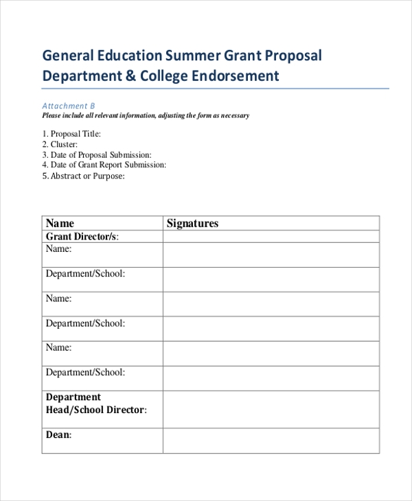 Grant Proposal Form Sample   Free Documents In Doc Pdf