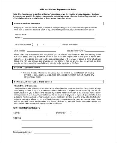 hipaa authorized representative form