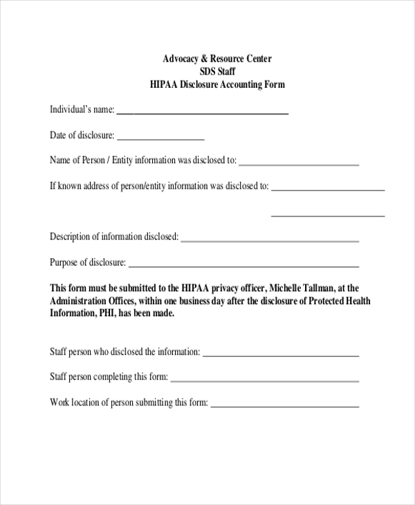 hipaa disclosure accounting form