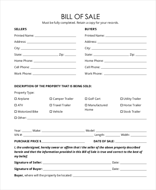Trailer Bill Of Sale Form - 9+ Free Documents In Word, Pdf