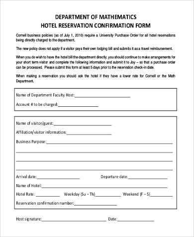 Sample hotel reservation form 10 free documents in word pdf hotel reservation confirmation form altavistaventures Choice Image
