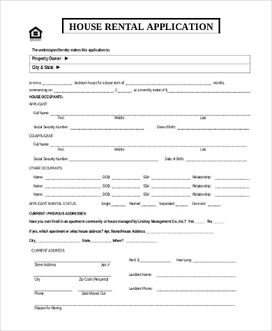 Sample Rental Applications   Free Documents In Word Pdf