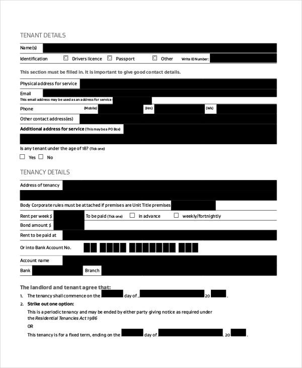 house tenancy agreement form