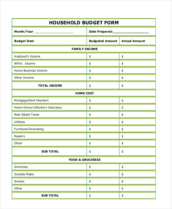 Sample Budget Form   Free Documents In