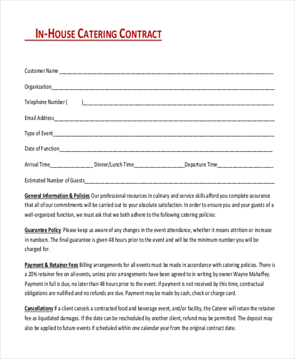 Sample catering contract form 8 free documents in doc pdf for Catering contracts templates
