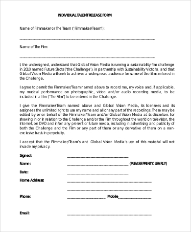 individual talent release form
