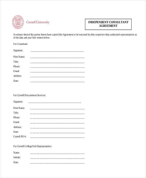 Sample Consulting Agreement Form   Free Documents In Doc Pdf