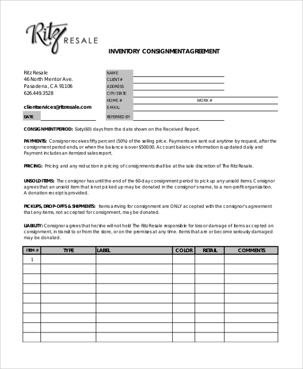 Sample consignment agreement template some examples of for Consignment shop contract template