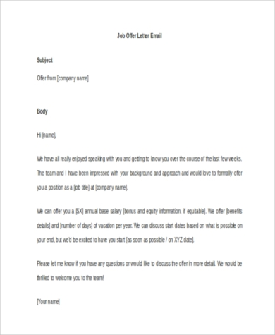 Job Offer Letter Samples   Free Documents In Word Pdf