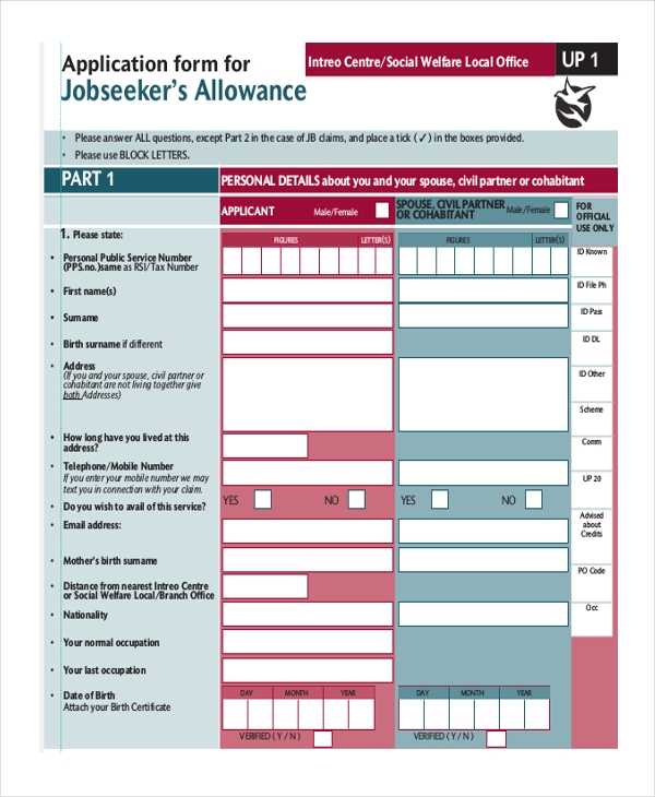 job seeker allowance application form