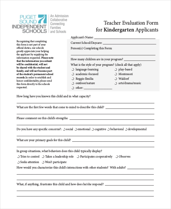 kindergarten teacher appraisal form