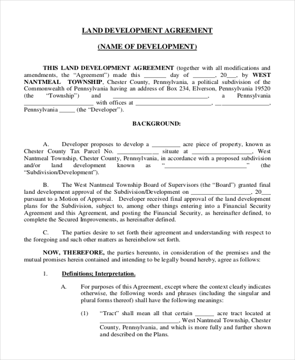 Land Development Agreement  Mutual Understanding Agreement Format