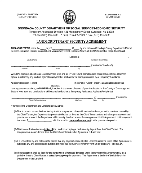 landlord tenant security agreement