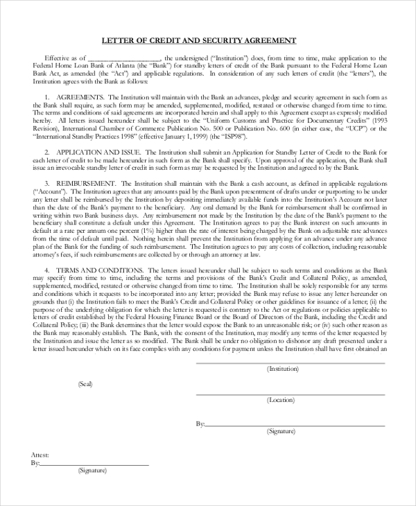letter of credit security agreement
