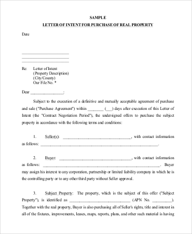 Letter Of Intent For Purchase Of Real Property  Letter Of Intent To Purchase Goods
