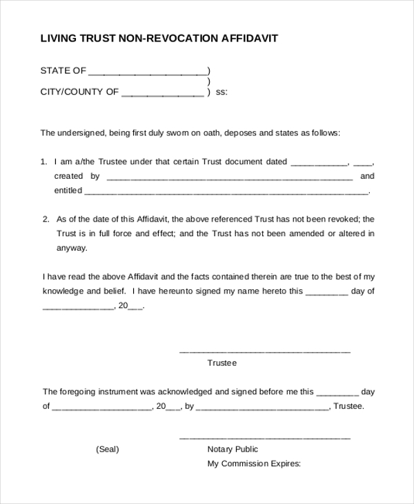 Sample Living Trust Form Deed Of Trust Form Sample Free Documents
