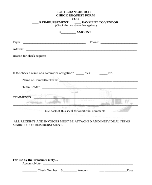 lutheran church check request form