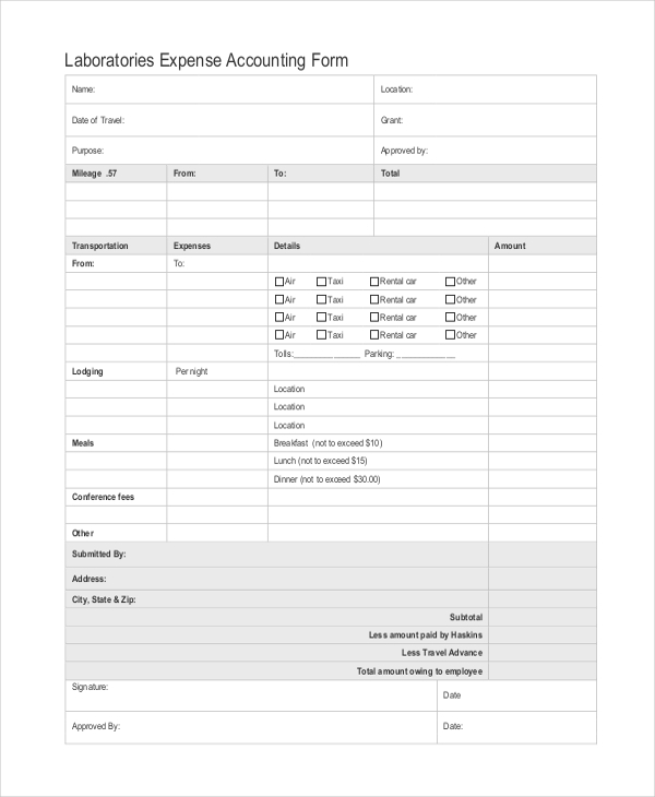 laboratories expense accounting form1
