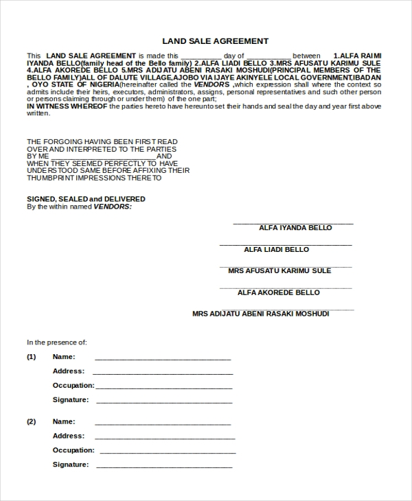 land sales agreement form