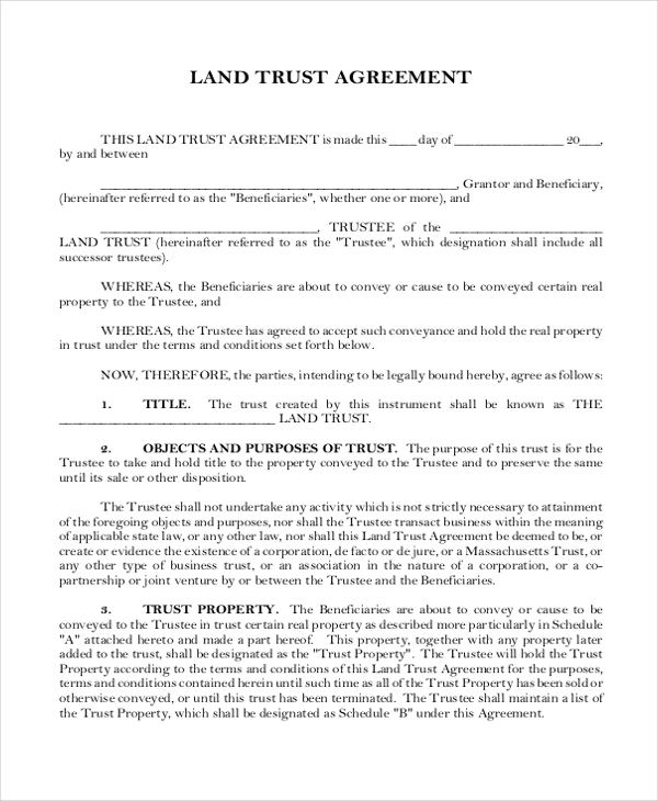 land trust agreement form1