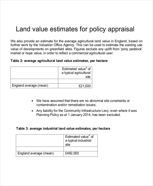 land value estimates for policy appraisal