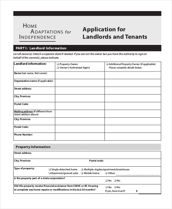 landlord tenant application form