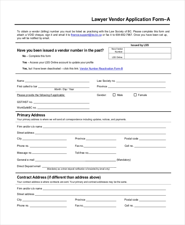 lawyer vendor application form
