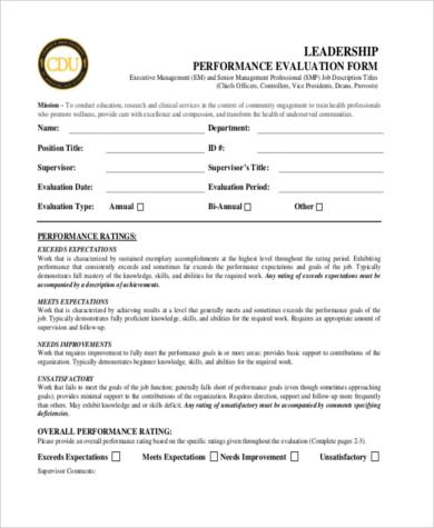 leadership performance appraisal form