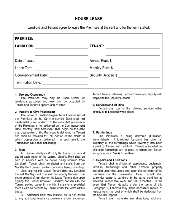 Sample House Lease Agreement Form 8 Free Documents in PDF – Free Landlord Inventory Template