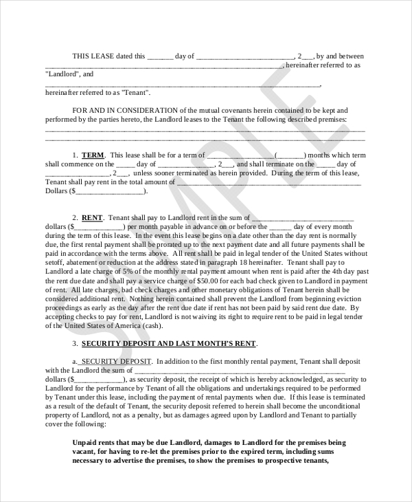 Sample Lease Purchase Agreement Form   Free Documents In Pdf Doc
