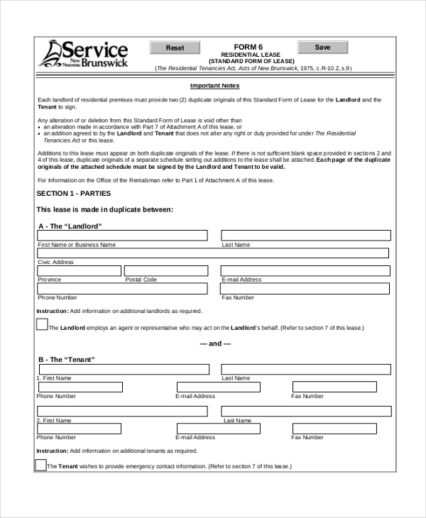 lease room agreement form