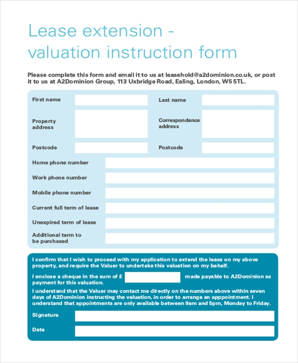 lease extension form