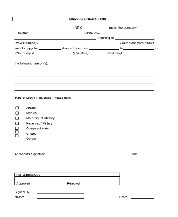 Doc# Sample Leave Form Employee Leave Application Form U Docsample