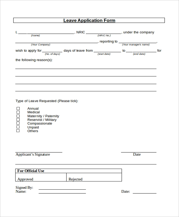 Application For Leave Form 7 Sample Leave Application Forms  Sample Example Format