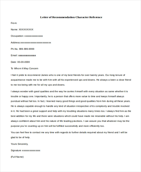a reference letter sample character reference letters 8 free documents in 20348 | Letter of Recommendation Character Reference