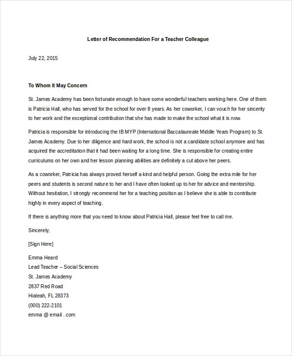 free 7  sample teacher letters of recommendation in pdf
