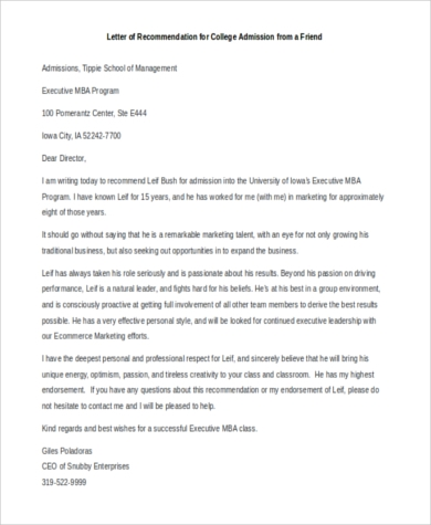 Recommendation Letter For College Admission Templates Sample