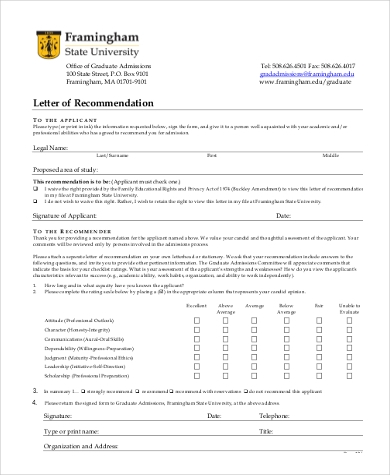 letters of recommendation with cover form
