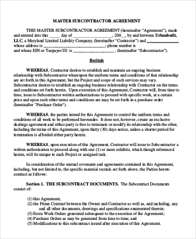 Subcontractor Contract Template Subcontractor Agreement Form